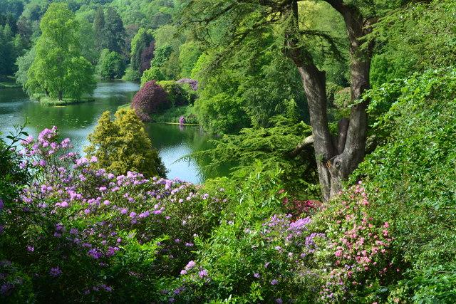 Stourhead Gardens: descending from the Temple of Apollo