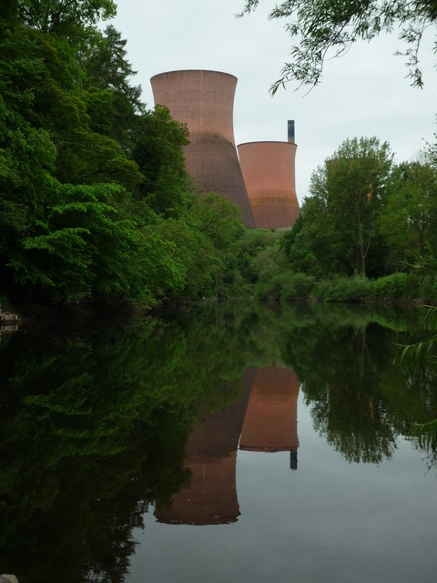 Ironbridge B Power Station reflected in the River Severn