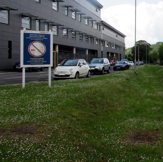 No Smoking notice, Ysbyty Ystrad Fawr, Ystrad Mynach