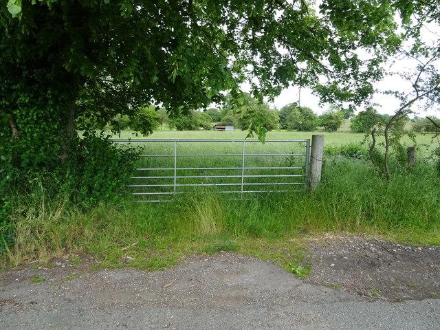 Field entrance off Mill Meece Marsh, Cotes Heath