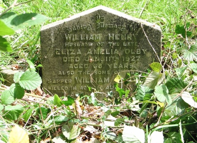 The gravestone of William Henry Olby