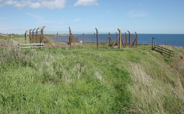 Fenced-off enclosure on the cliff top