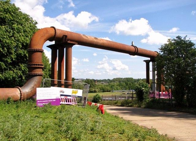 Sewage pipe at Whitlingham sewage works