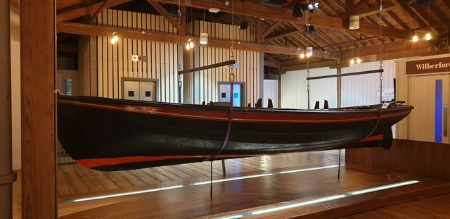 Wooden boat in the Docklands Museum