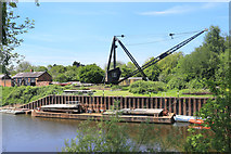 SO8453 : Crane and Barge near the Lock by Des Blenkinsopp