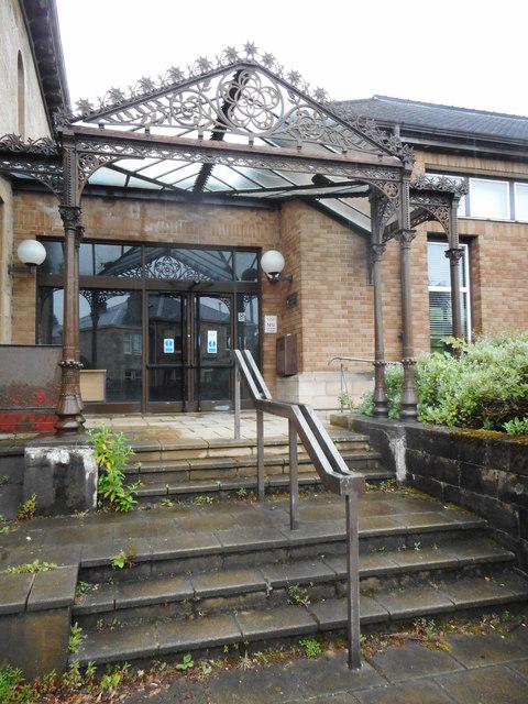 Entrance, former Brookwood Library, Bearsden