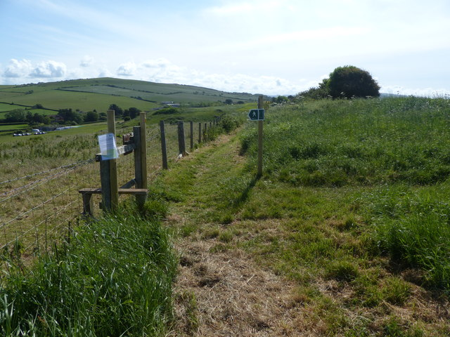 Stile on footpath east of West Bay