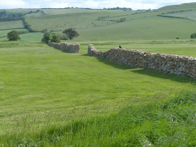 Old Wall crossing the golf course, East Cliff
