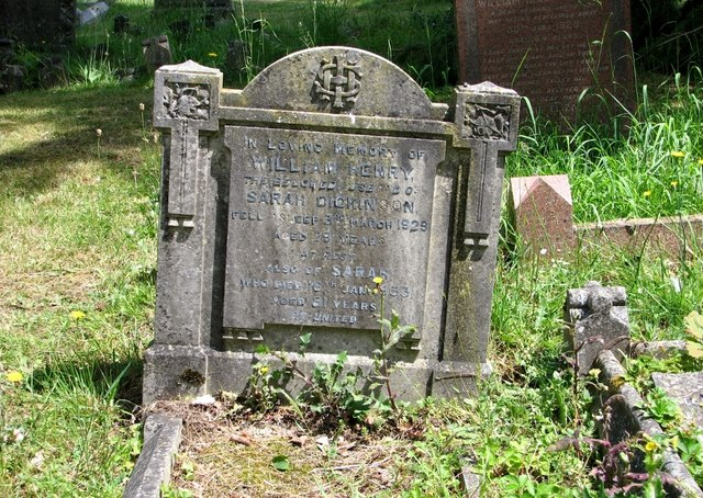 The gravestone of Sarah and William Henry Dickinson
