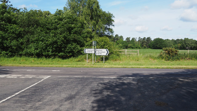 Junction of old A1075 with A1075