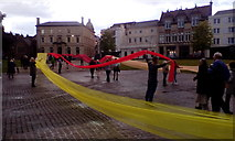 SX9292 : Pentecost banners outside Exeter Cathedral, 2019 by David Smith