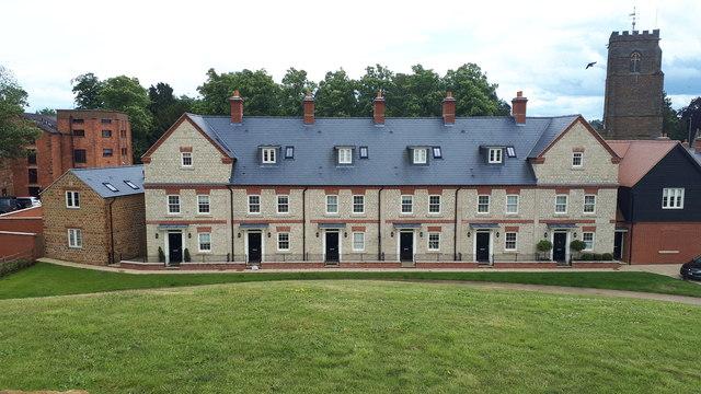 Modern housing facing Bury Mount