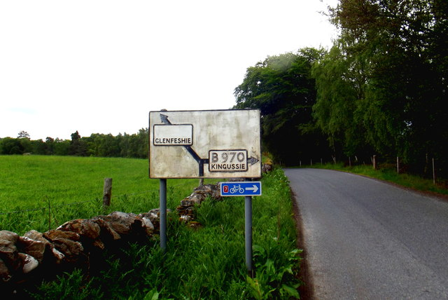Old road sign on the B970