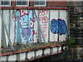 SE2833 : Graffiti on the Armley Road railway bridge, Leeds by Humphrey Bolton