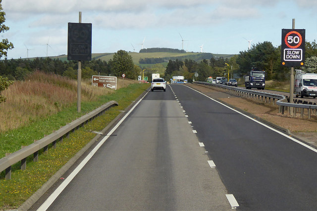 Digital Speed Limit Sign on the Northbound A90