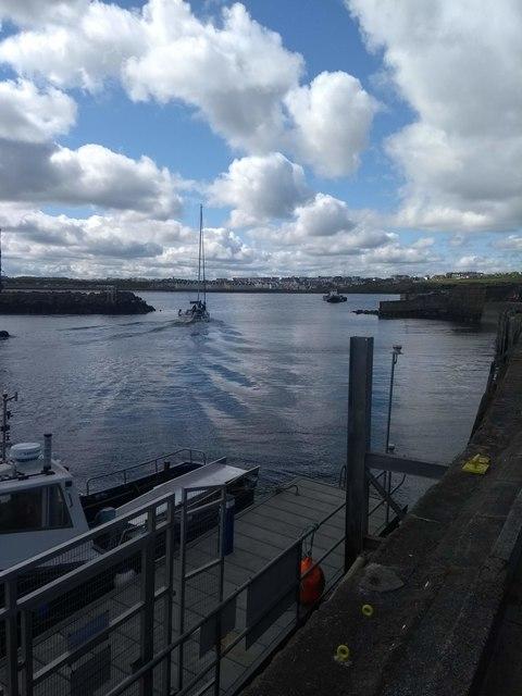 Yacht leaving Portrush