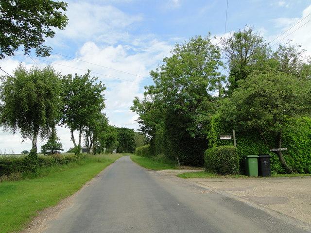 Wymondham Road by Home Farm, Bunwell Bottom