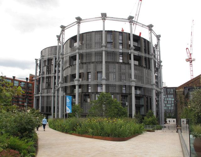 Flats built within gasholder iron frames, King's Cross