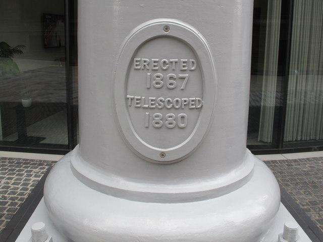 "Gasholder iron pillar ""Erected 1867 telescoped 1880"""