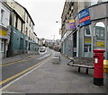 ST1599 : Queen Elizabeth II pillarbox and a bench, High Street, Bargoed by Jaggery