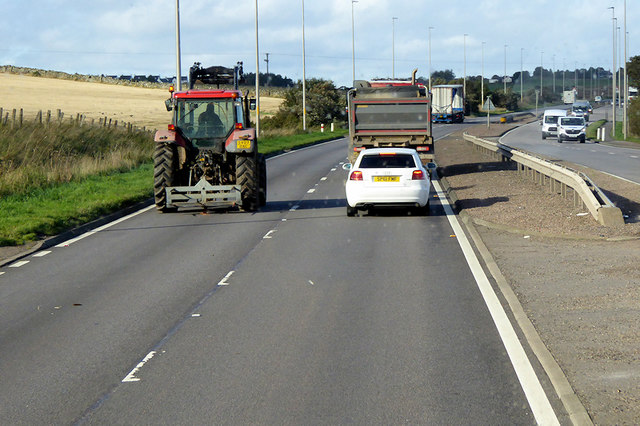 Tractor on the A92