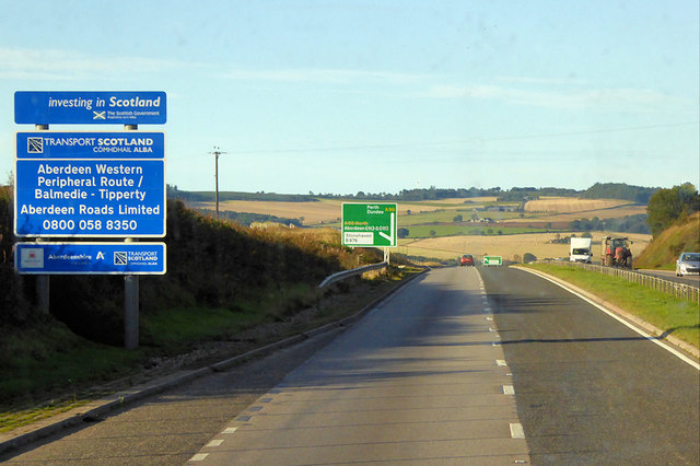 Southbound A92 towards Stonehaven
