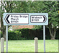 TF4706 : Roadsign on the B1101 Main Road by Adrian Cable