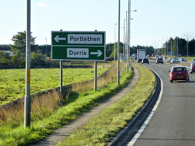 Southbound A92 near Portlethen