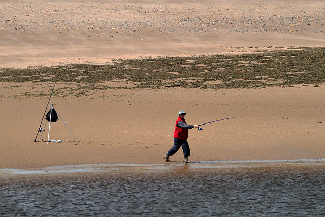 A sea angler at Sandstell Point