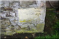 NY6664 : Benchmark on farm building at Wydoncleughside by Roger Templeman