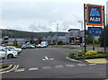 ST1588 : Aldi name sign, Gallagher Retail Park, Caerphilly by Jaggery