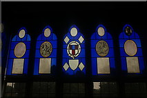 TQ1572 : View of a stained glass window in Strawberry Hill House #5 by Robert Lamb