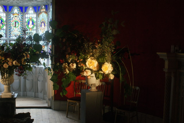 View of flowers lit by a floodlight in Strawberry Hill House