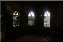 TQ1572 : View out to Waldegrave Road from the stained glass windows of Strawberry Hill House #2 by Robert Lamb