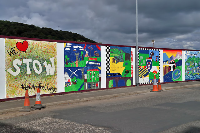 Colourful site hoarding at Huddersfield Street, Galashiels