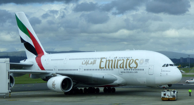 Emirates Airbus A380 at Glasgow Airport