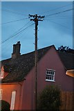 TL3444 : Old style telegraph pole on Old North Road, Kneesworth by David Howard