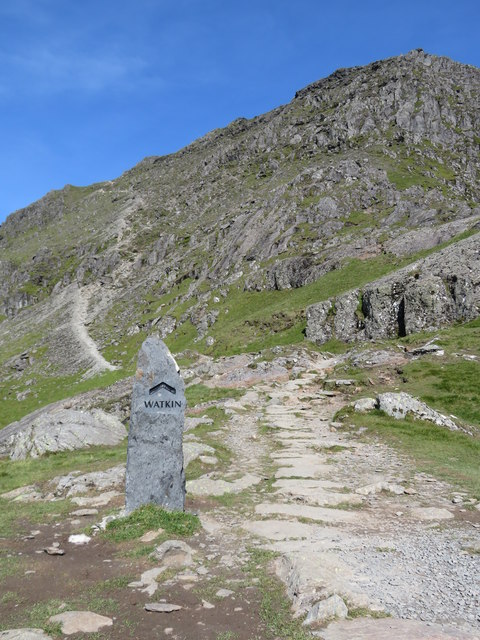 Last stretch of the Watkin Path to Snowdon's summit