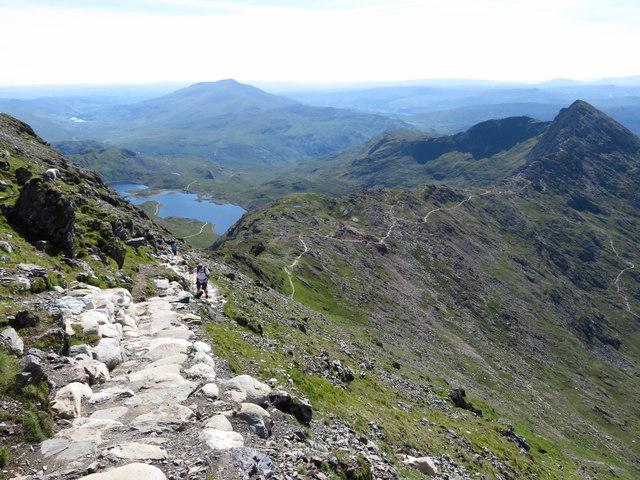View back down the Watkin Path towards Y Lliwedd