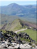 SH6054 : View SW to Bwlch Main from Snowdon by Gareth James