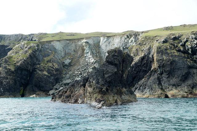 Cliff-fall at Little Funziegord Geo, Fetlar