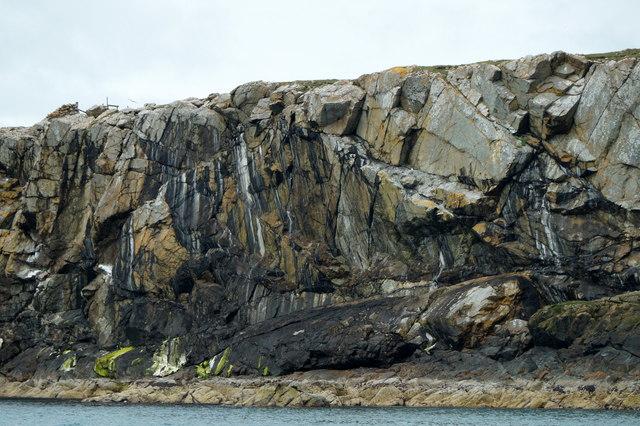 Multi-coloured cliff, Bight of Raabis, Fetlar