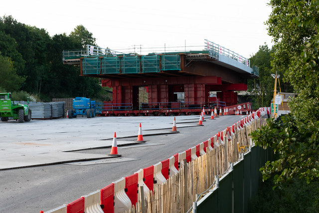 New Romsey Road bridge waiting to crawl into position