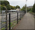 SS9795 : Fenced-off area beyond Ton Pentre railway station by Jaggery