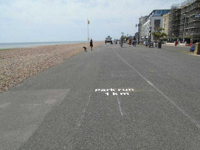 parkrun marker 1km - Worthing