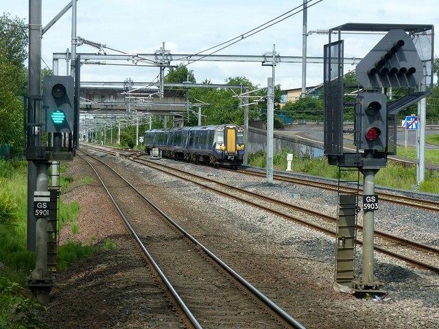 Glasgow-bound train approaching Cardonald Station