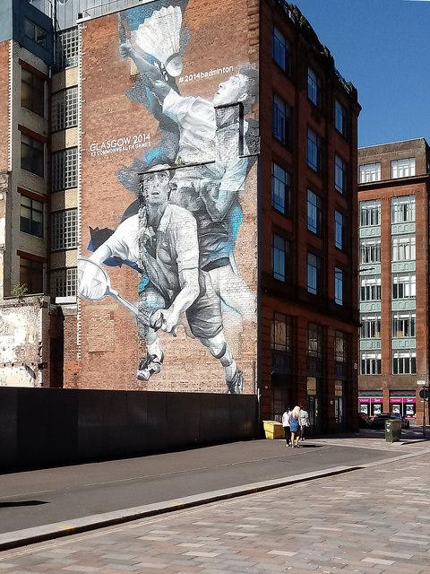 "Commonwealth Games mural ""Badminton"", Wilson Street, Glasgow"