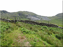 SH5645 : Ladder stile and wall in Cwmystradllyn by Gareth James