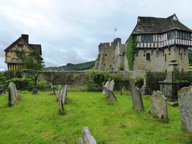 Stokesay Castle Gatehouse and North Tower from the adjacent churchyard