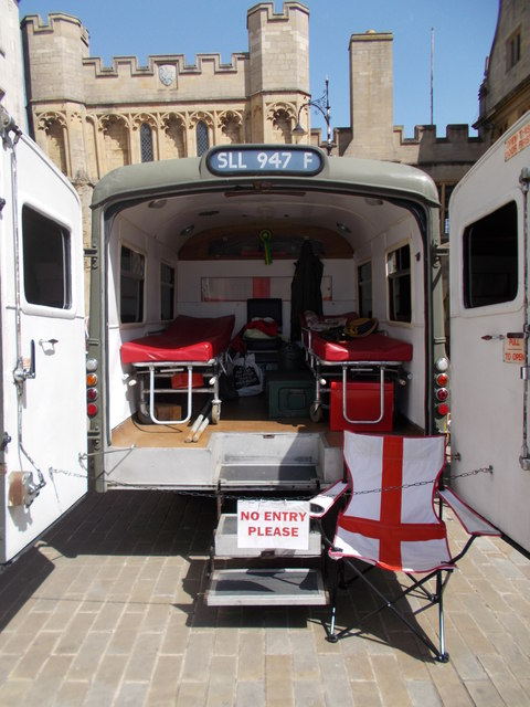 Classic Land Rover military ambulance on Cathedral Square, Peterborough